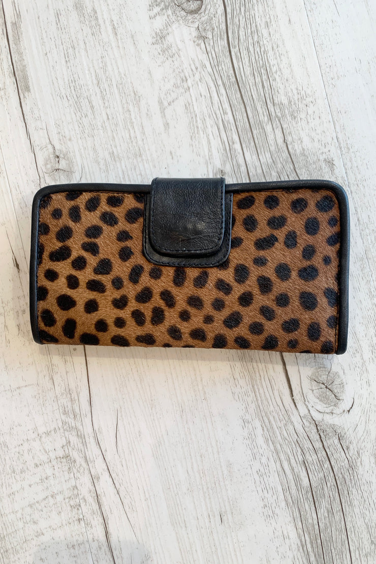Thea | Leopard Cowhide Wallet In Chocolate and Tan