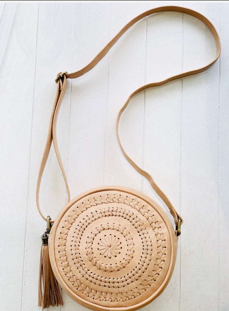 Leather-Detailed front Round Bag with adjustable strap