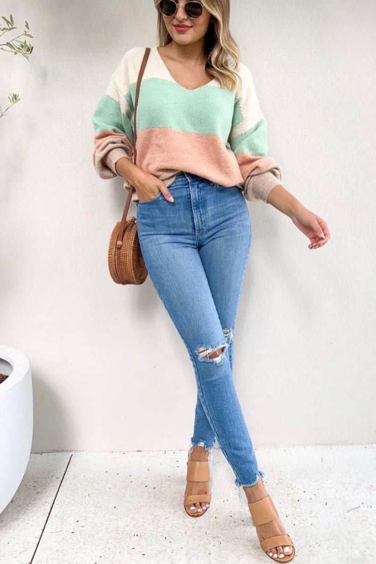 Jessie | V Neck Knit In Nude, Mint And Peach