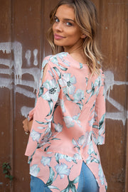 Florence Floral Top with split detail sleeve