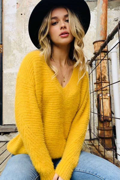 Leah | V Neck Fluffy Knit In Mustard