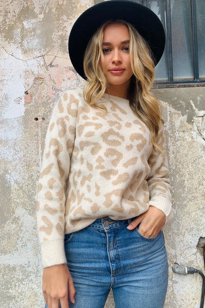 Madison | Leopard Natural High Neck Knit