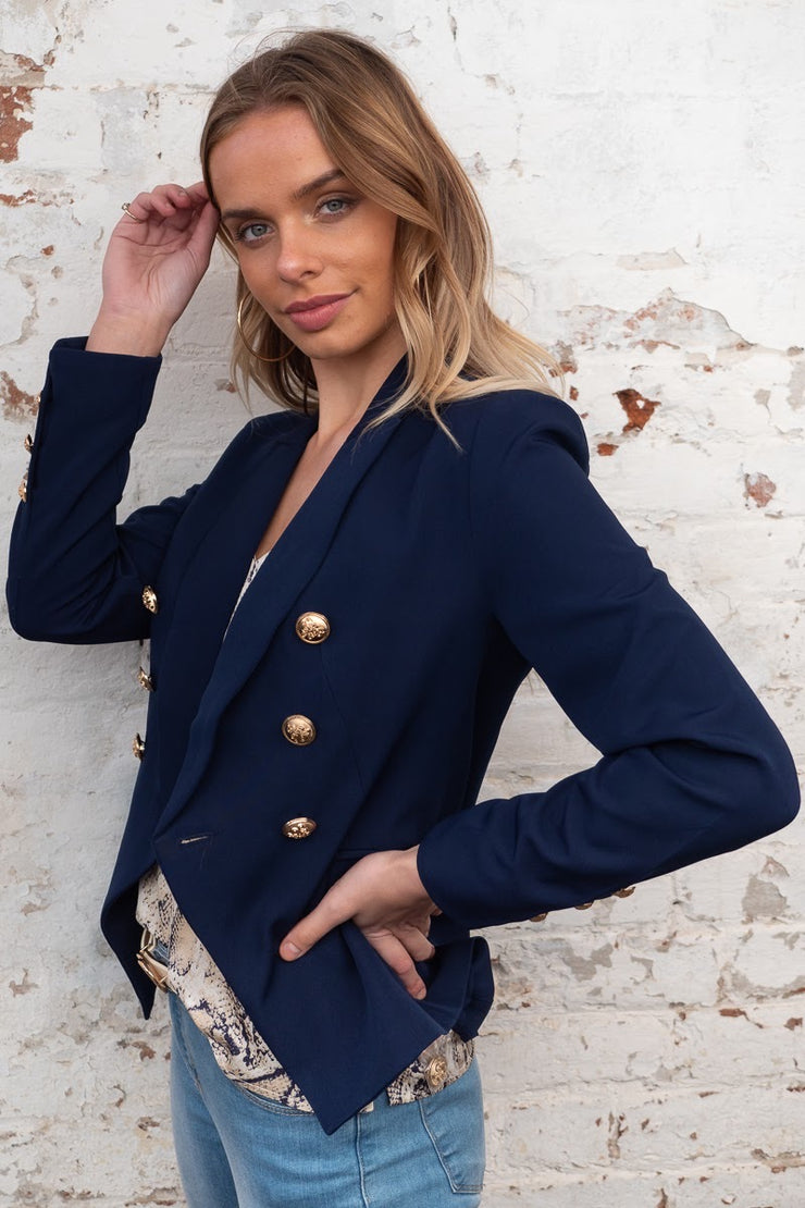 Lula | Navy Blazer With Gold Buttons