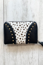 Raven | Studded Leather Wallet with Cowhide Detail