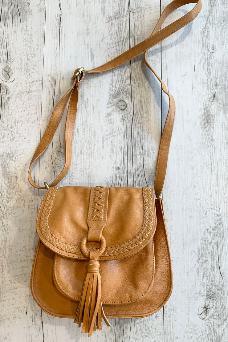 Alexis | Camel Leather Small Bag With Tassel Front Detail