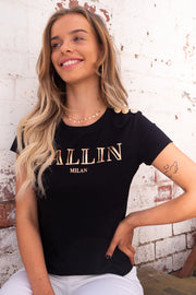 Claudia | Ballin Tshirt With Gold Button Detail