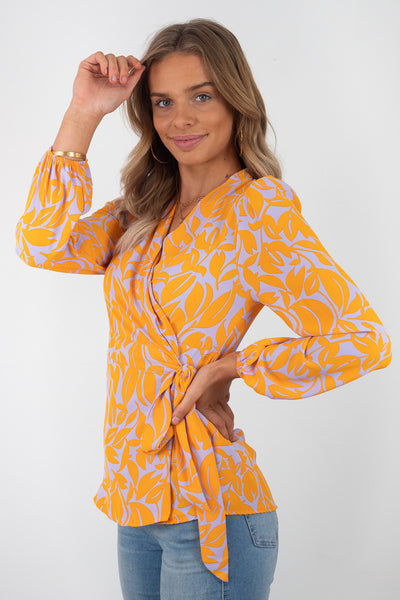 Lara | Wrap In Orange And Lilac Print