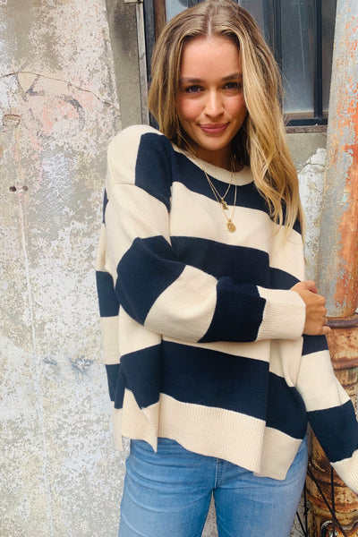 Leah Stripe Loose Knit In Cream And Navy