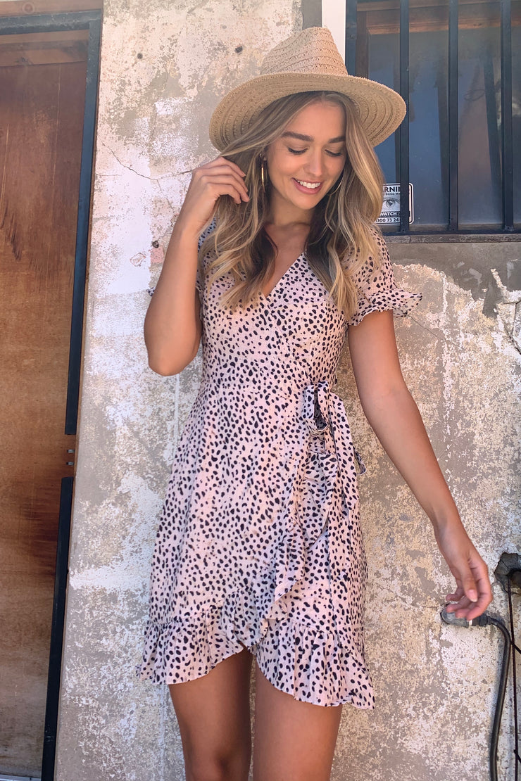 Tessa Animal Spot Wrap Dress Short Sleeve