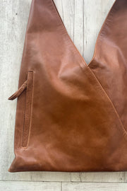 Abbey | Coffee lambskin Leather Shopping Bag