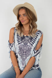 Alexie | Top With Cut Out Sleeve With Animal Print in grey and black