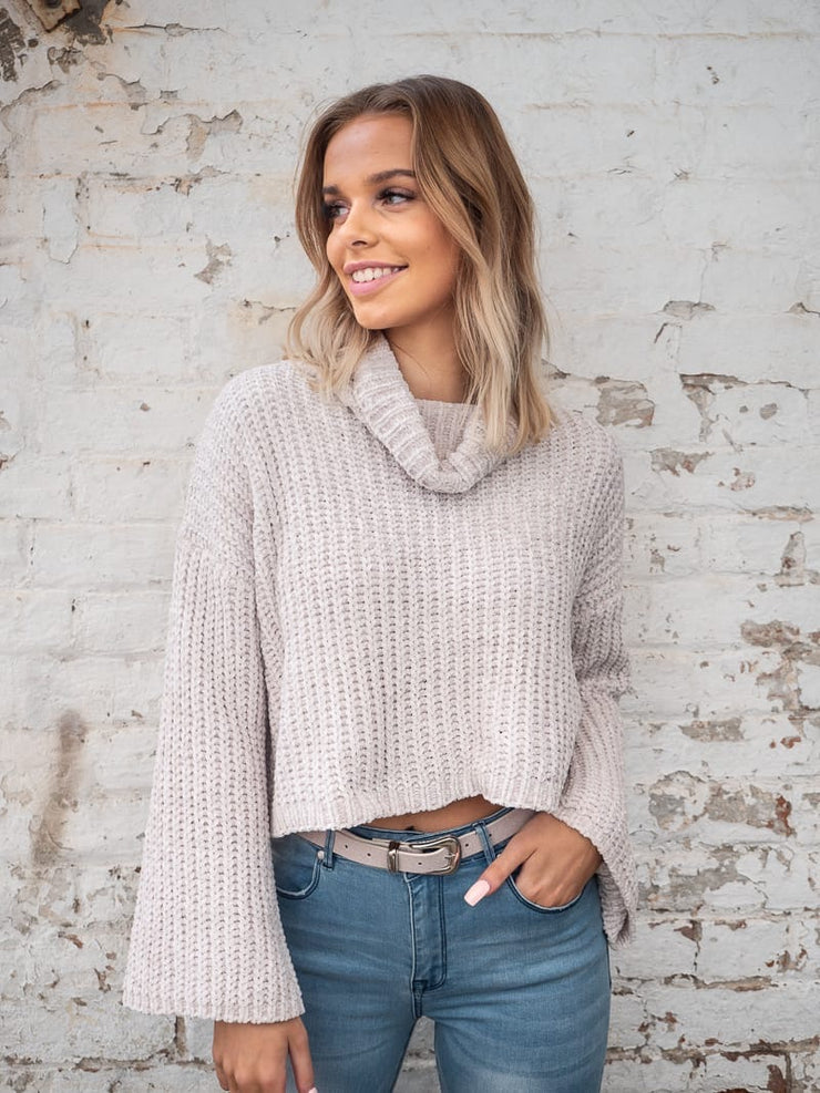 Elly Roll Neck Chenille Jumper in Nude Colour