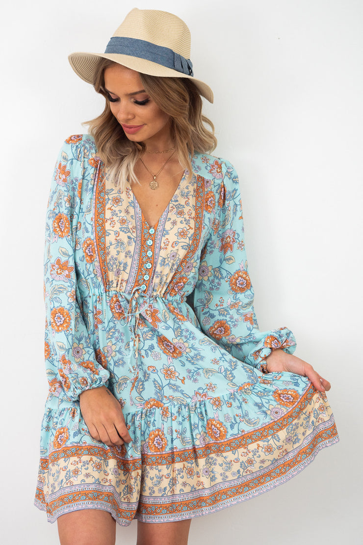 May | Boho Print Dress With Sleeve