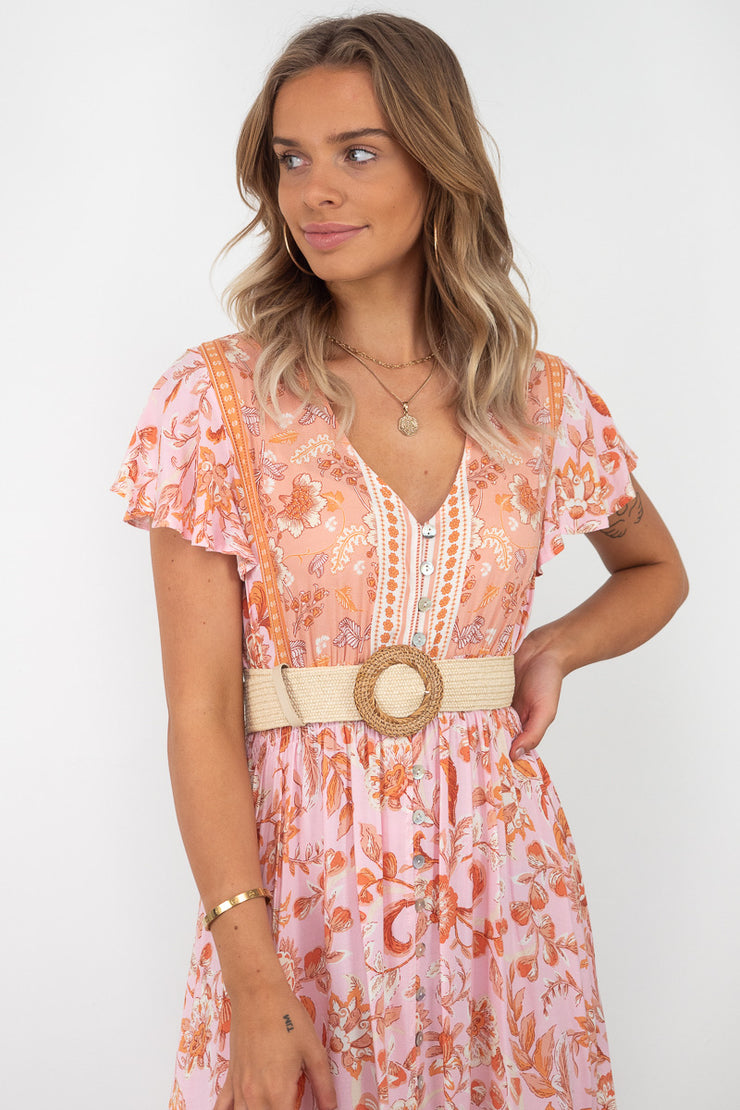 Isabella | Boho Maxi Dress in Peach