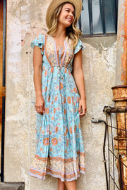 Scarlette | Light Blue Print Boho Maxi With Sleeve