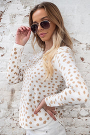 Miles Animal Print Knit In White and Beige
