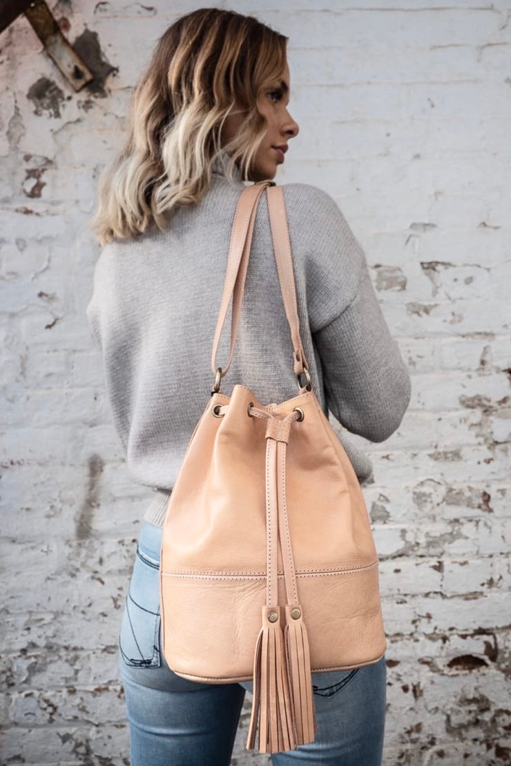 Heidi | Salmon Colour Ladies Bucket Leather Bag