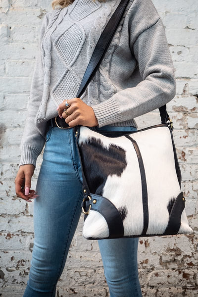 Halo Leather Black And White Cowhide Bag With Straps
