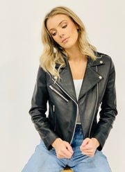Rider Black Leather Jacket - Extra Zip silver hardware