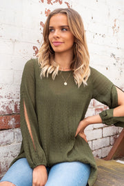 Pippa | Sleeve Slit Top with Asymmetric Hem in Khaki