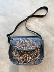 Leather studded shoulder bag