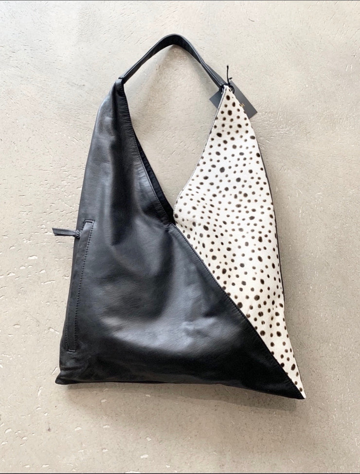 Black Leather Lambskin Shopping Bag With Animal Spot Design