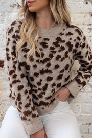 Kyle Leopard Knit In Brown and Beige