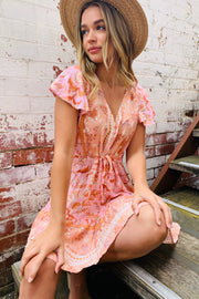 Scarlette Pink Boho Mini Dress
