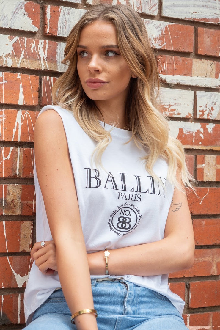 Claudia | White T-Shirt with Gold Button Detail