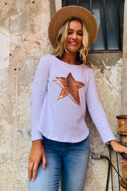 Star | Long Sleeve Top In White With Gold Sequin Star