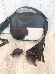 Halo Black And White Leather Small Everyday bag