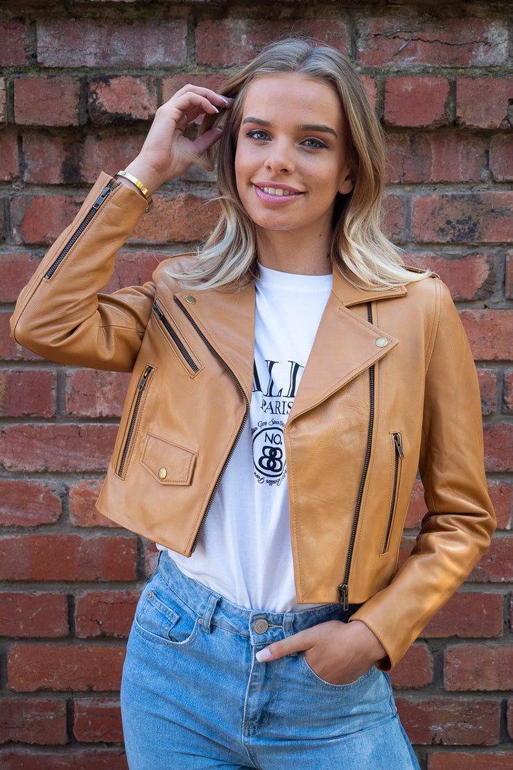 Brooke | Cropped Calfskin Leather Jacket in Camel