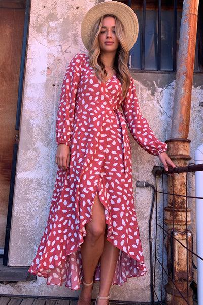 April  Wrap Midi Dress In Rose And White Spot ( New Arrival )
