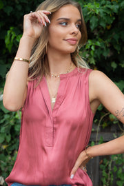 Macy | Low Collard Asymmetric Hem Blouse with in Rose