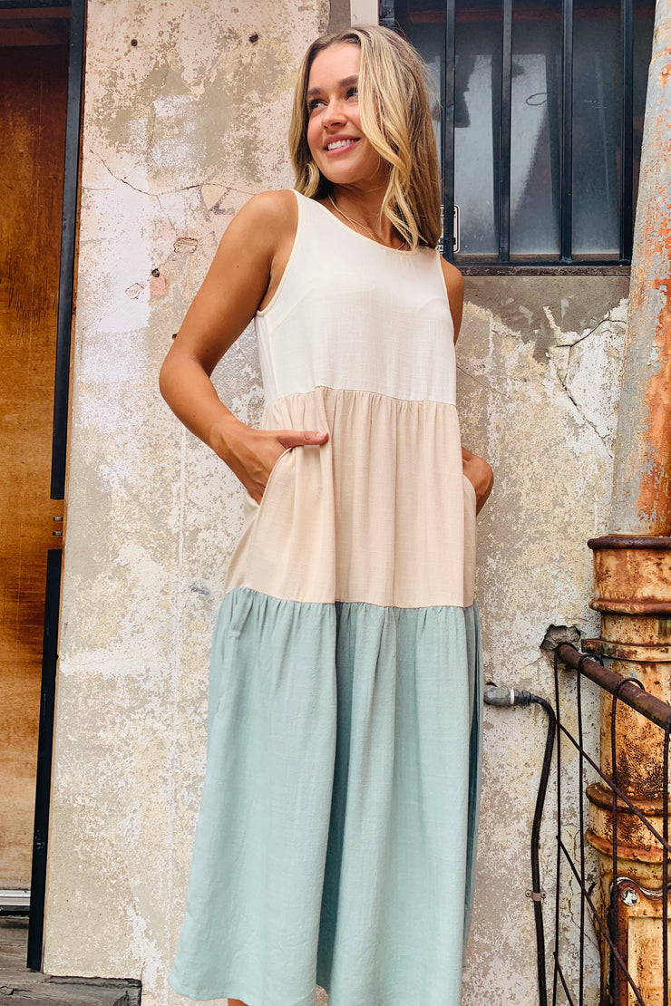 Marlow | Linen Dress In Cream , Natural And Mint