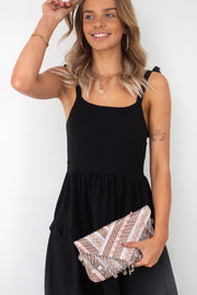 Luna Beaded Clutch With detectable chain in Pink Tones