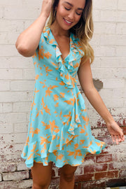 Natasha Dress in Pale Mint With Orange Floral Print