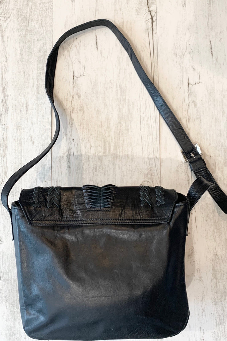 Hutch | Black Leather Front Detailed Lambskin Bag