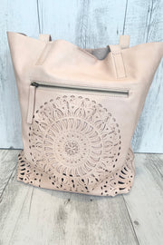 Allie | Salmon Leather Bag With Embroidery Front Design