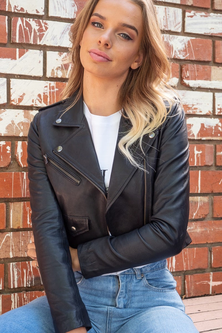 Brooke Crop Lambskin Leather Jacket With Nickel Hardware