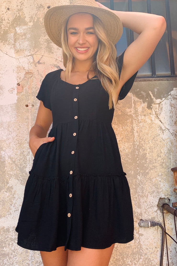 Poppi Black Short Linen Dress with Wooden buttons down front