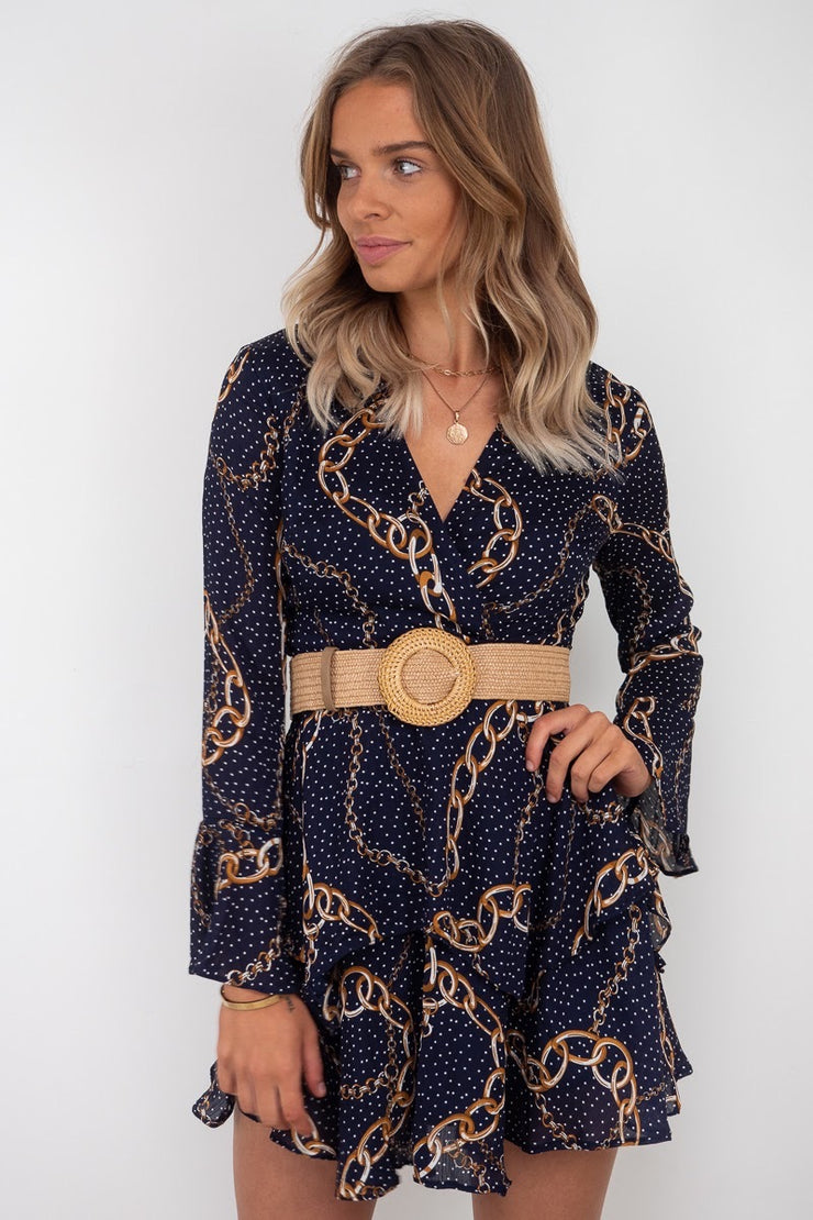 Holly | Chain Print Mini Dress in Navy