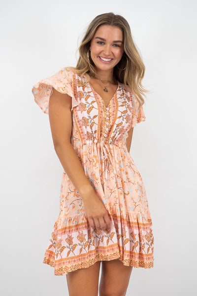 India Dress In Orange Print