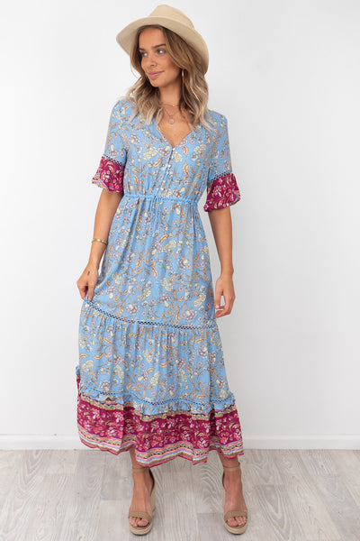 Macey | Dress in Blue Print With Sleeve