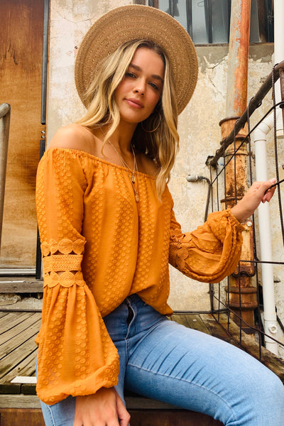 Leah | Detailed Off The Shoulder Top in Mustard