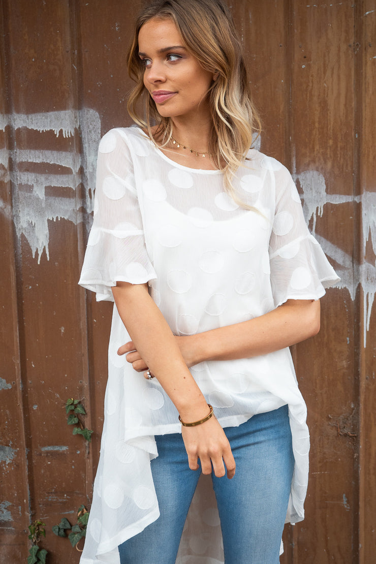 Polli | Asymmetric Hem Top In White