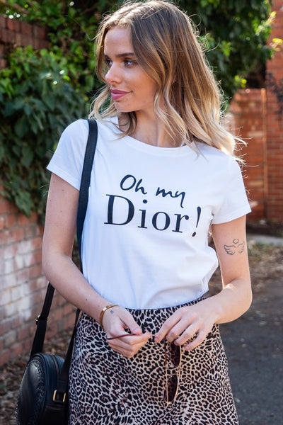 Dior | Fitted White Tee with Print