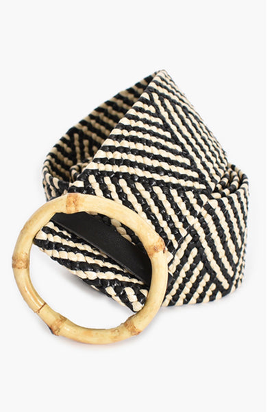 Myer  | Rattan Belt In Black And Cream