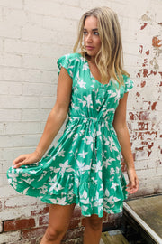 Kirsty Green And White Floral Dress