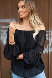 Leah | Detailed Off The Shoulder Top in Black
